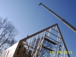 First Hand Carved Truss is being put in place-December 9, 2011